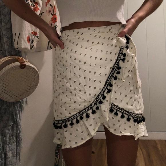 Pom detail wrap skirt